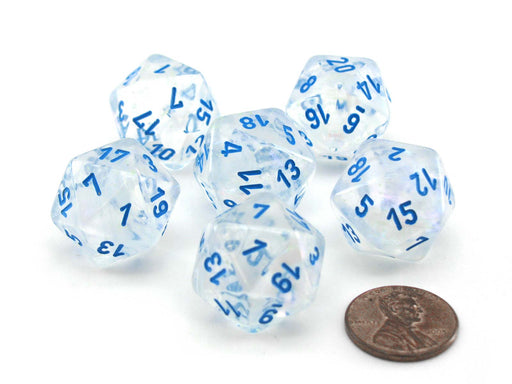 Luminary Borealis 20 Sided D20 Dice, 6 Pieces - Icicle with Light Blue Numbers