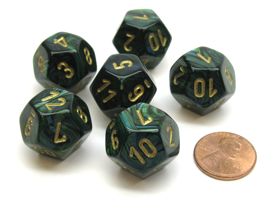 Scarab 18mm 12 Sided D12 Chessex Dice, 6 Pieces -  Jade with Gold