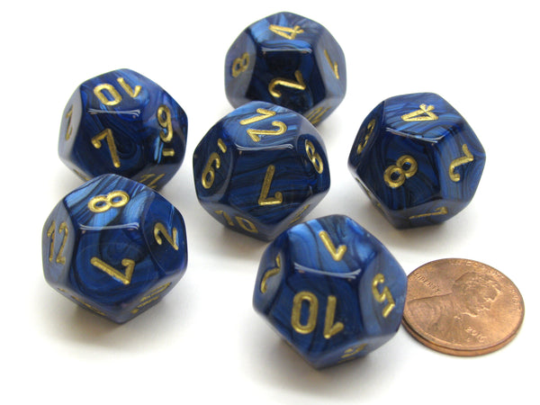 Scarab 18mm 12 Sided D12 Chessex Dice, 6 Pieces -  Royal Blue with Gold
