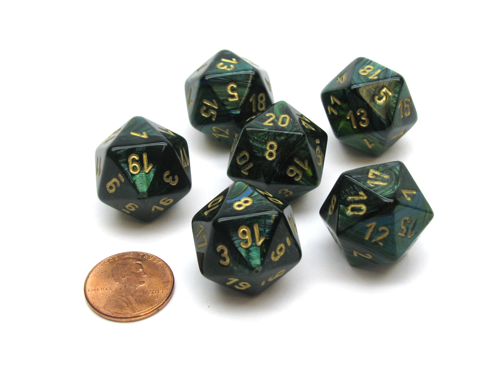Scarab 20 Sided D20 Chessex Dice, 6 Pieces - Jade with Gold Numbers