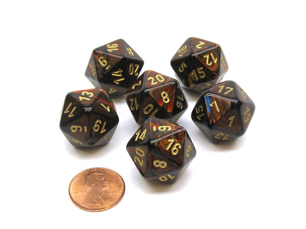 Scarab 20 Sided D20 Chessex Dice, 6 Pieces - Blue Blood with Gold Numbers