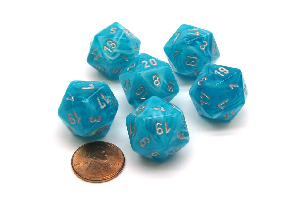 Cirrus 20 Sided D20 Chessex Dice, 6 Pieces - Aqua with Silver Numbers