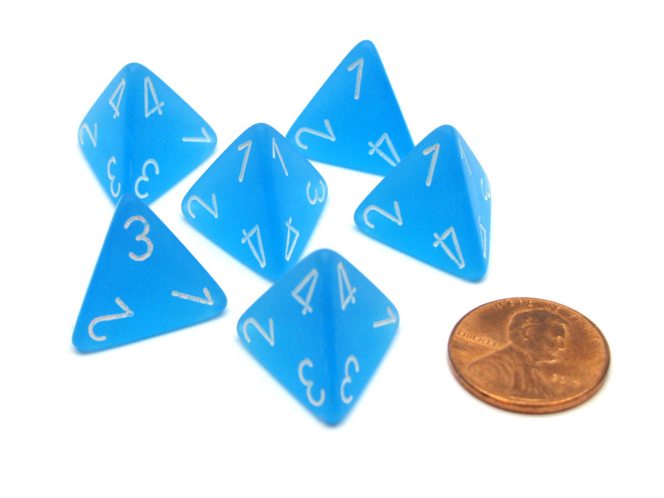 Frosted 18mm 4 Sided D4 Chessex Dice, 6 Pieces - Caribbean Blue with White