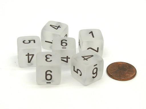 Frosted 15mm 6 Sided D6 Chessex Dice, 6 Pieces - Clear with Black Numbers