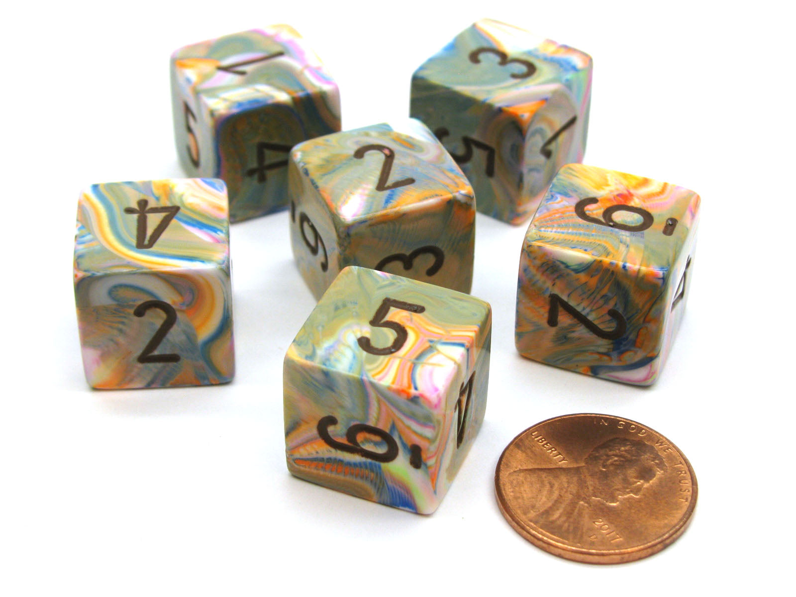 Festive 15mm 6-Sided D6 Numbered Chessex Dice, 6 Pieces - Vibrant with Brown