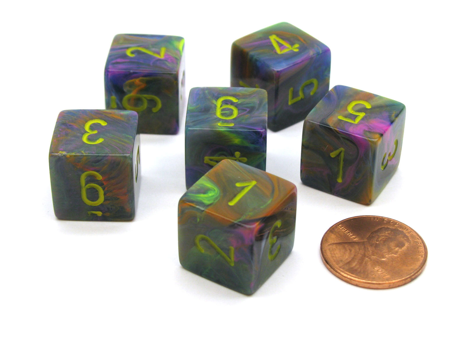 Festive 15mm 6-Sided D6 Numbered Chessex Dice, 6 Pieces - Rio with Yellow