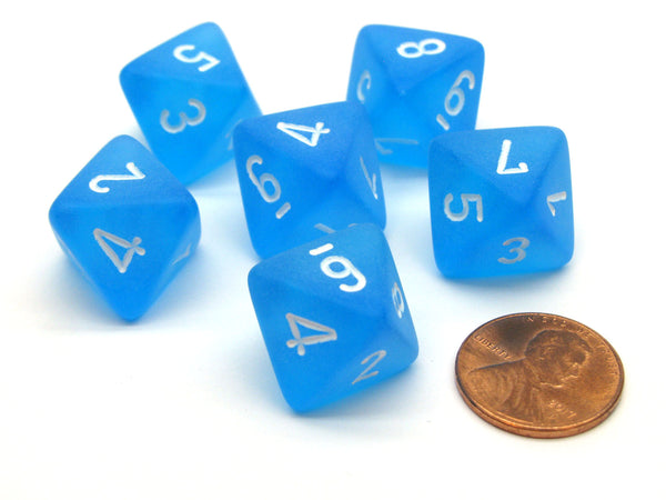 Frosted 15mm 8 Sided D8 Chessex Dice, 6 Pieces - Caribbean Blue with White