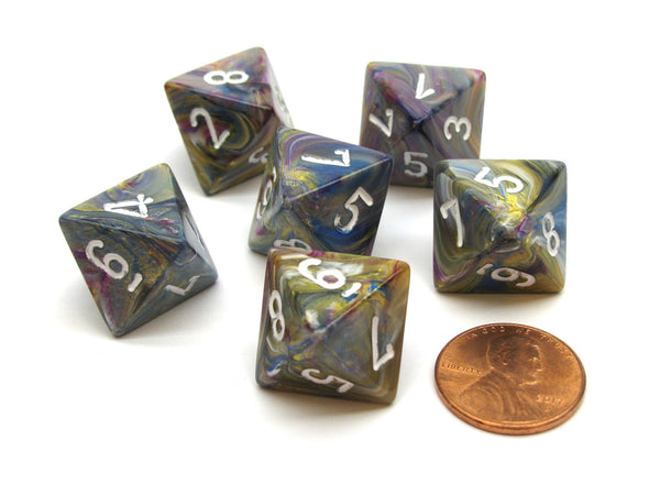 Festive 15mm 8 Sided D8 Chessex Dice, 6 Pieces - Carousel with White