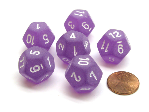 Frosted 18mm 12 Sided D12 Chessex Dice, 6 Pieces -  Purple with White