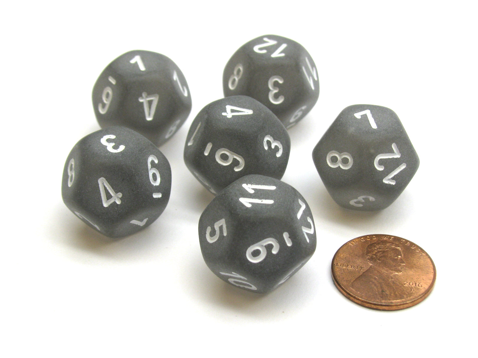 Frosted 18mm 12 Sided D12 Chessex Dice, 6 Pieces -  Smoke with White