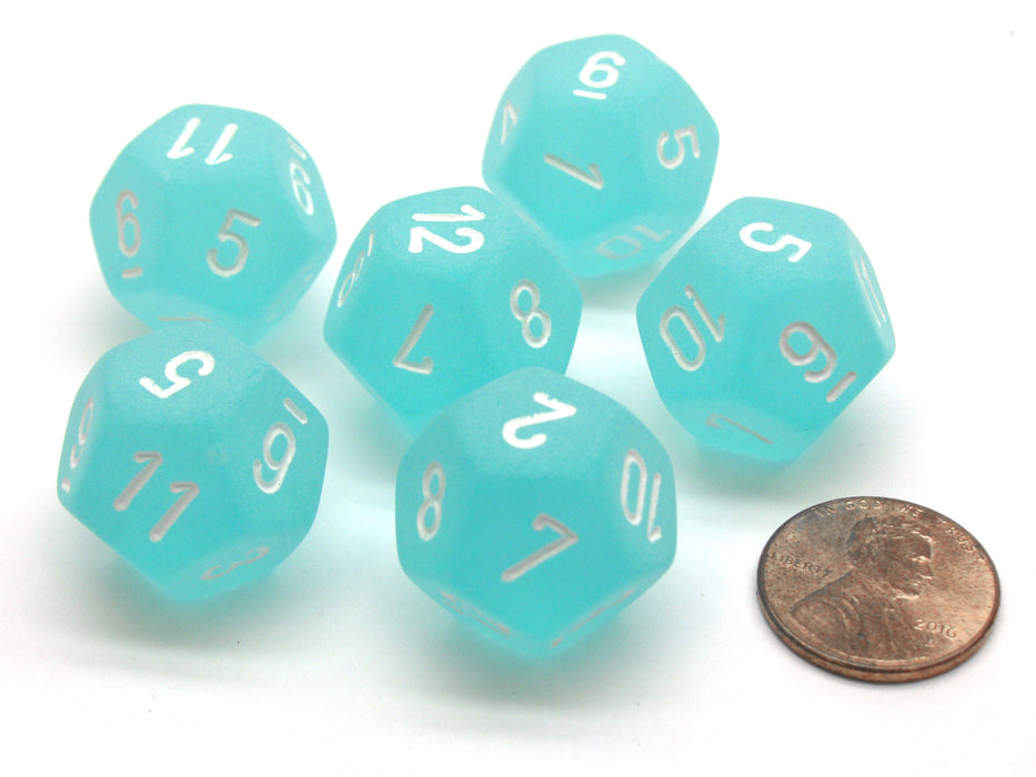 Frosted 18mm 12 Sided D12 Chessex Dice, 6 Pieces -  Teal with White