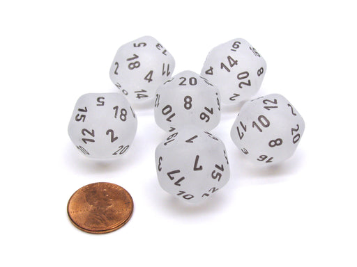 Frosted 20 Sided D20 Chessex Dice, 6 Pieces - Clear with Black Numbers