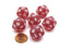 Frosted 20 Sided D20 Chessex Dice, 6 Pieces - Red with White Numbers