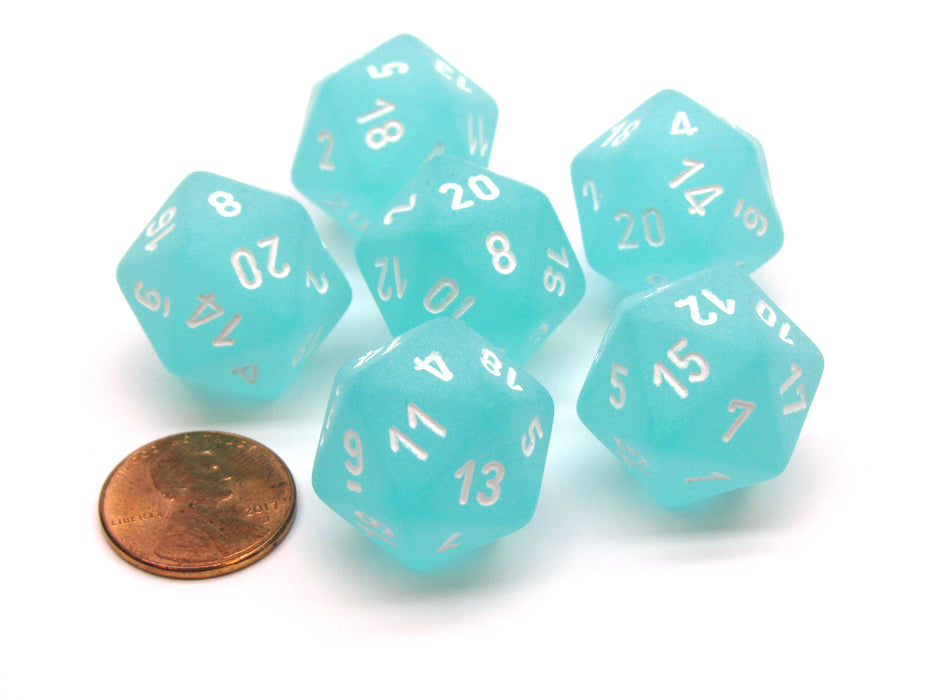 Frosted 20 Sided D20 Chessex Dice, 6 Pieces - Teal with White Numbers