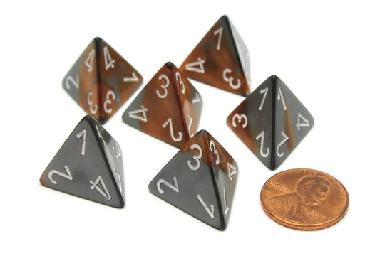 Gemini 18mm 4 Sided D4 Chessex Dice, 6 Pieces - Copper-Steel with White