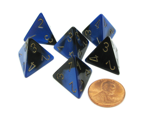 Gemini 18mm 4 Sided D4 Chessex Dice, 6 Pieces - Black-Blue with Gold
