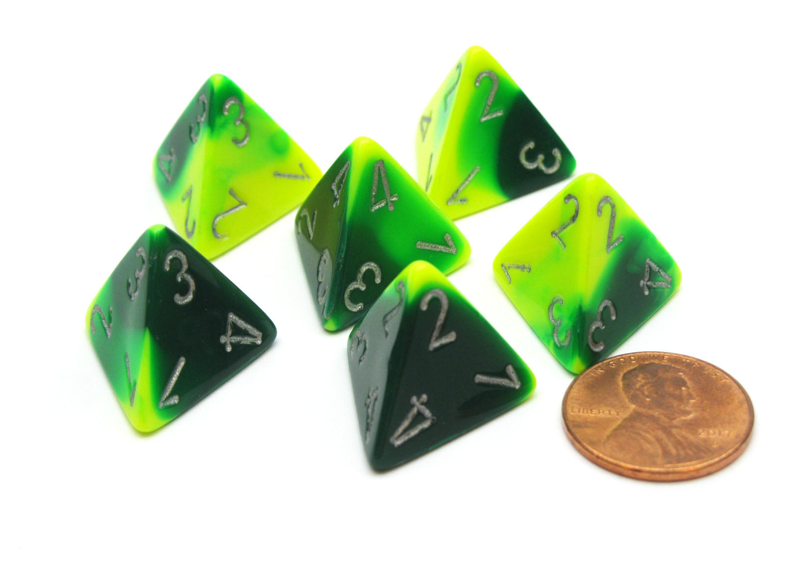 Gemini 18mm 4 Sided D4 Chessex Dice, 6 Pieces - Green-Yellow with Silver