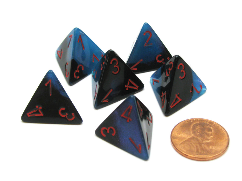 Gemini 18mm 4 Sided D4 Chessex Dice, 6 Pieces - Black-Starlight with Red