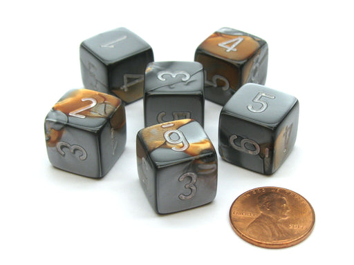 Gemini 15mm 6-Sided D6 Numbered Chessex Dice, 6 Pieces - Copper-Steel with White