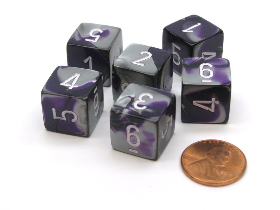 Gemini 15mm 6-Sided D6 Numbered Chessex Dice, 6 Pieces - Purple-Steel with White