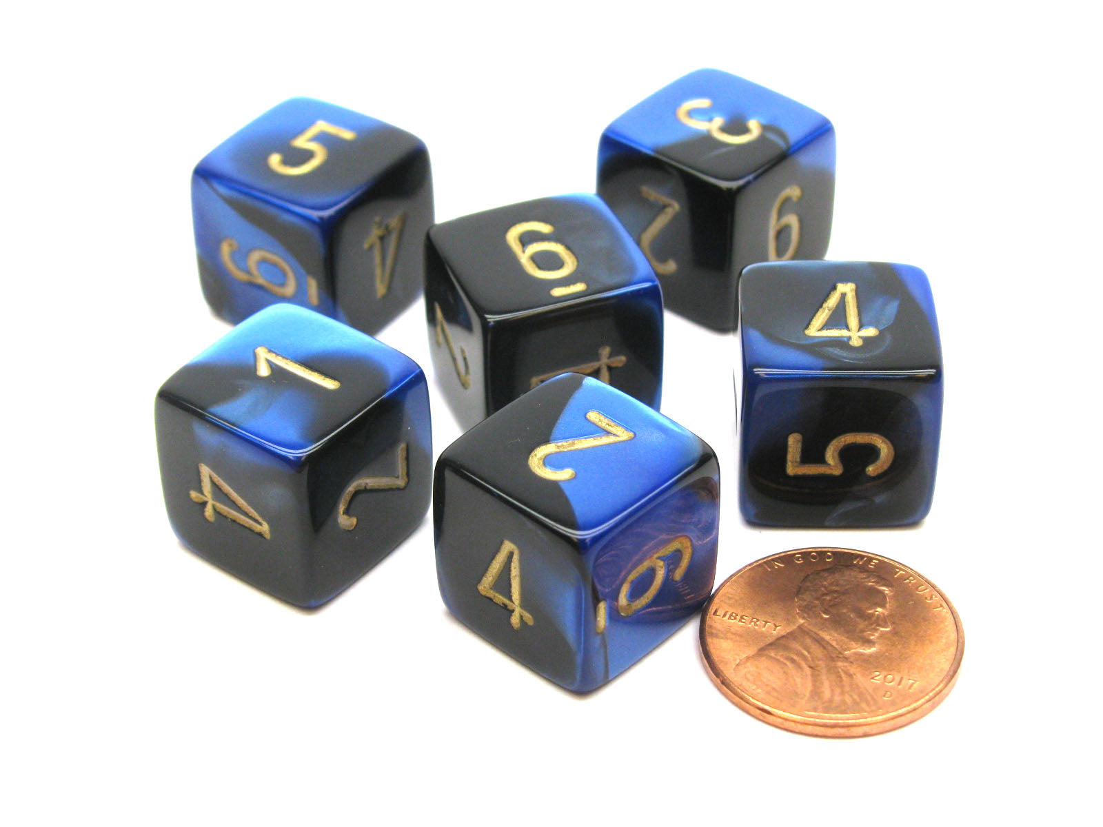 Gemini 15mm 6-Sided D6 Numbered Chessex Dice, 6 Pieces - Black-Blue with Gold