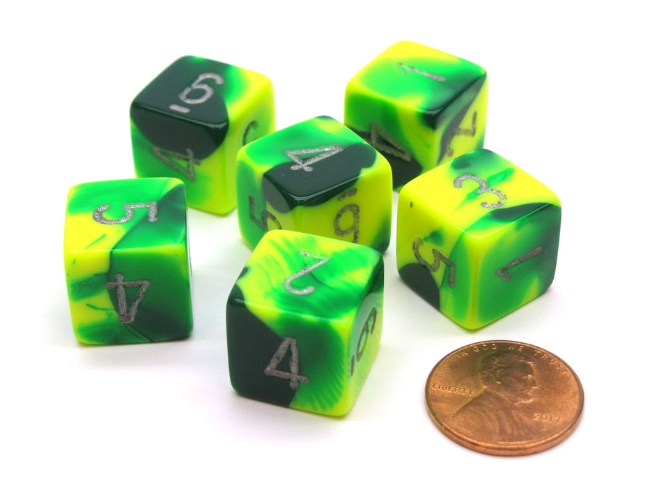 Gemini 15mm 6-Sided D6 Numbered Chessex Dice, 6 Pieces -Green-Yellow with Silver
