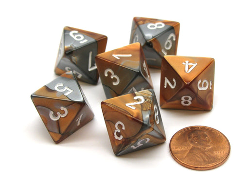 Gemini 15mm 8 Sided D8 Chessex Dice, 6 Pieces - Copper-Steel with White