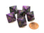Gemini 15mm 8 Sided D8 Chessex Dice, 6 Pieces - Black-Purple with Gold