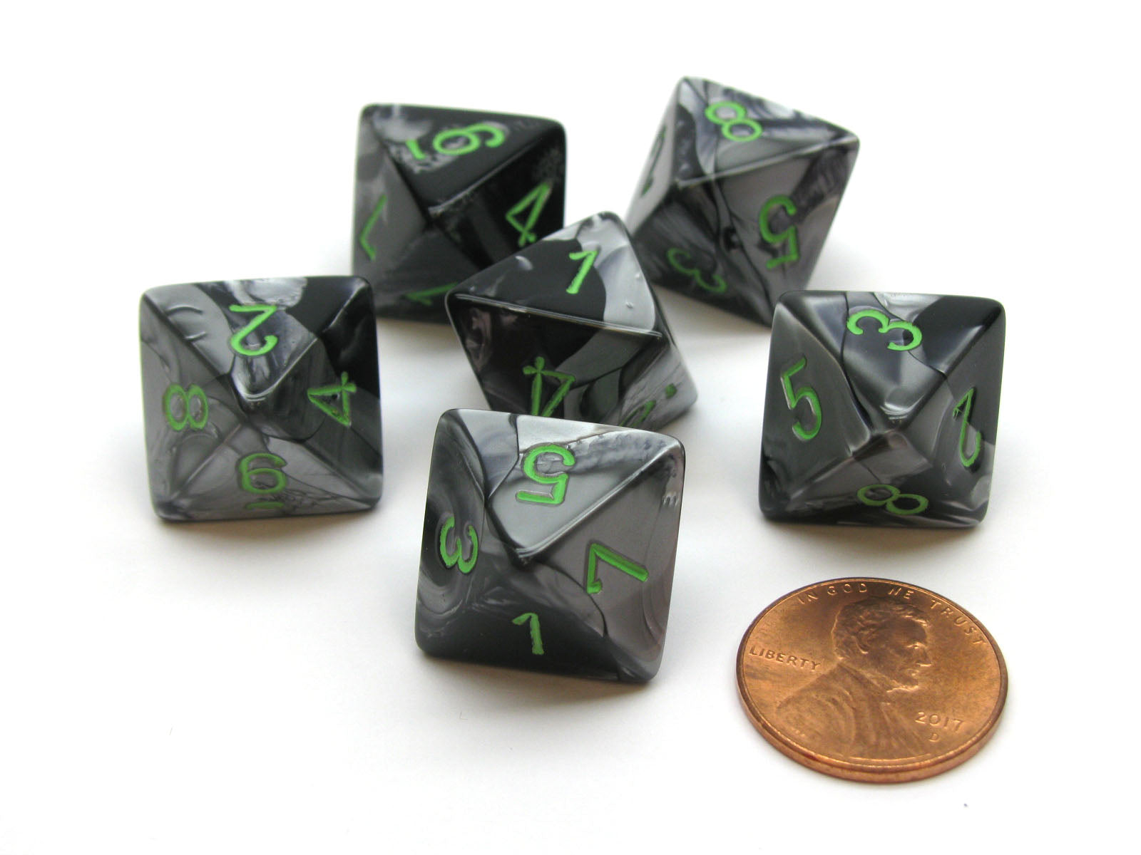 Gemini 15mm 8 Sided D8 Chessex Dice, 6 Pieces - Black-Grey with Green
