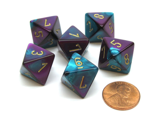 Gemini 15mm 8 Sided D8 Chessex Dice, 6 Pieces - Purple-Teal with Gold