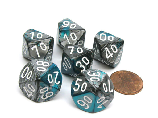 Gemini 16mm Tens D10 (00-90) Dice, 6 Pieces - Steel-Teal with White Numbers