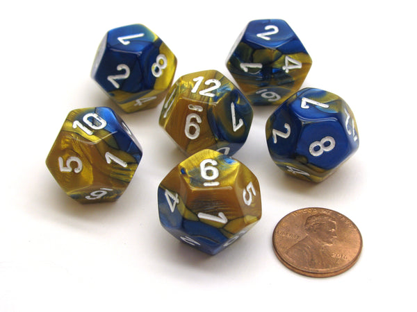 Gemini 18mm 12 Sided D12 Chessex Dice, 6 Pieces -  Blue-Gold with White