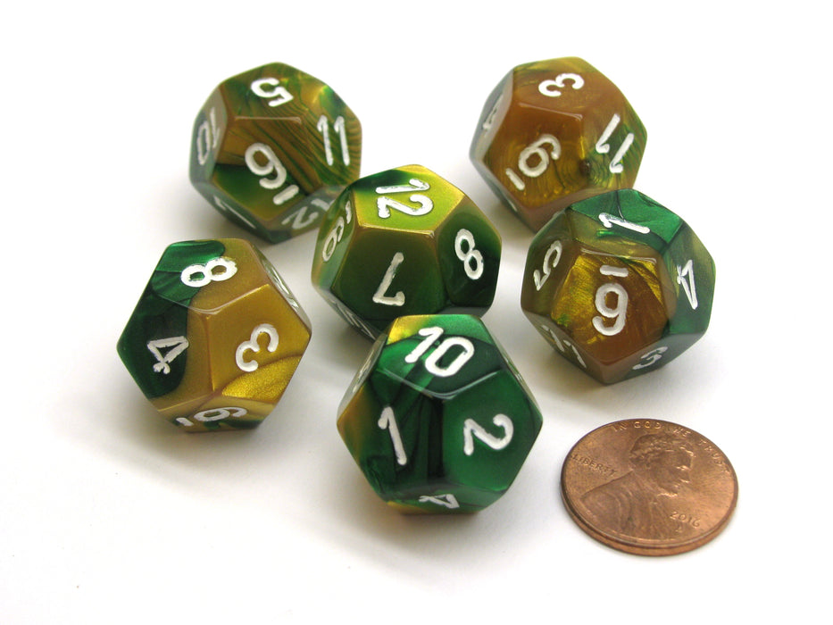 Gemini 18mm 12 Sided D12 Chessex Dice, 6 Pieces -  Gold-Green with White