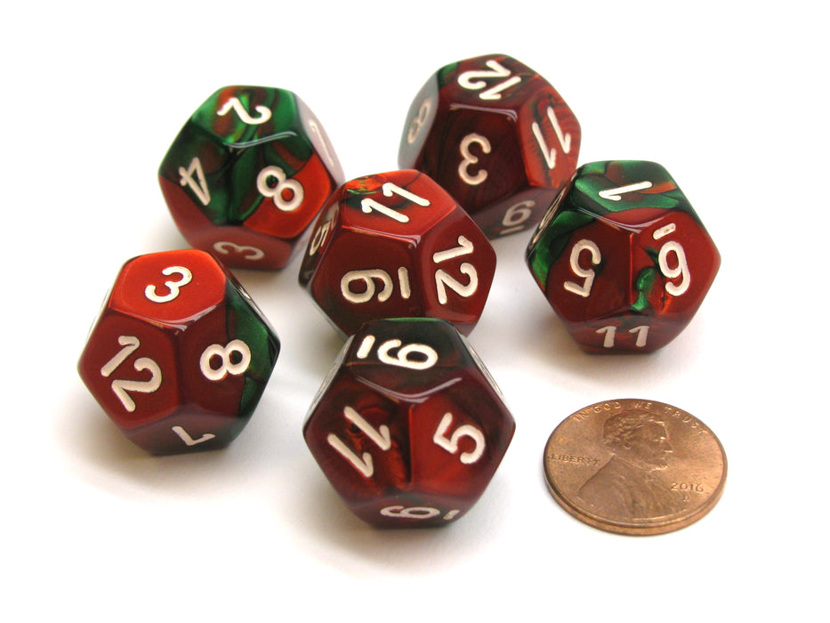 Gemini 18mm 12 Sided D12 Chessex Dice, 6 Pieces -  Green-Red with White