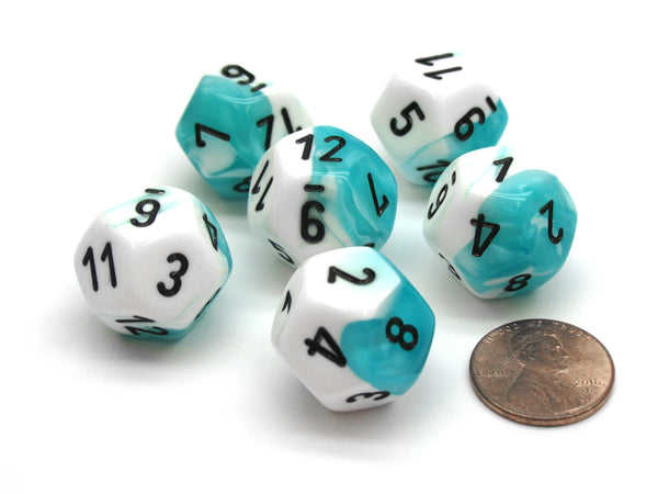 Gemini 18mm 12 Sided D12 Chessex Dice, 6 Pieces -  Teal-White with Black