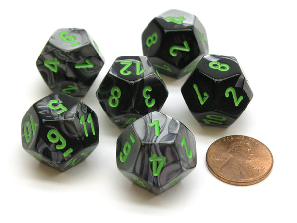 Gemini 18mm 12 Sided D12 Chessex Dice, 6 Pieces -  Black-Grey with Green