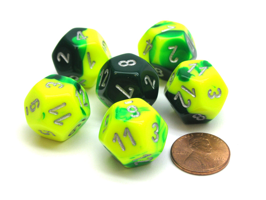 Gemini 18mm 12 Sided D12 Chessex Dice, 6 Pieces -  Green-Yellow with Silver