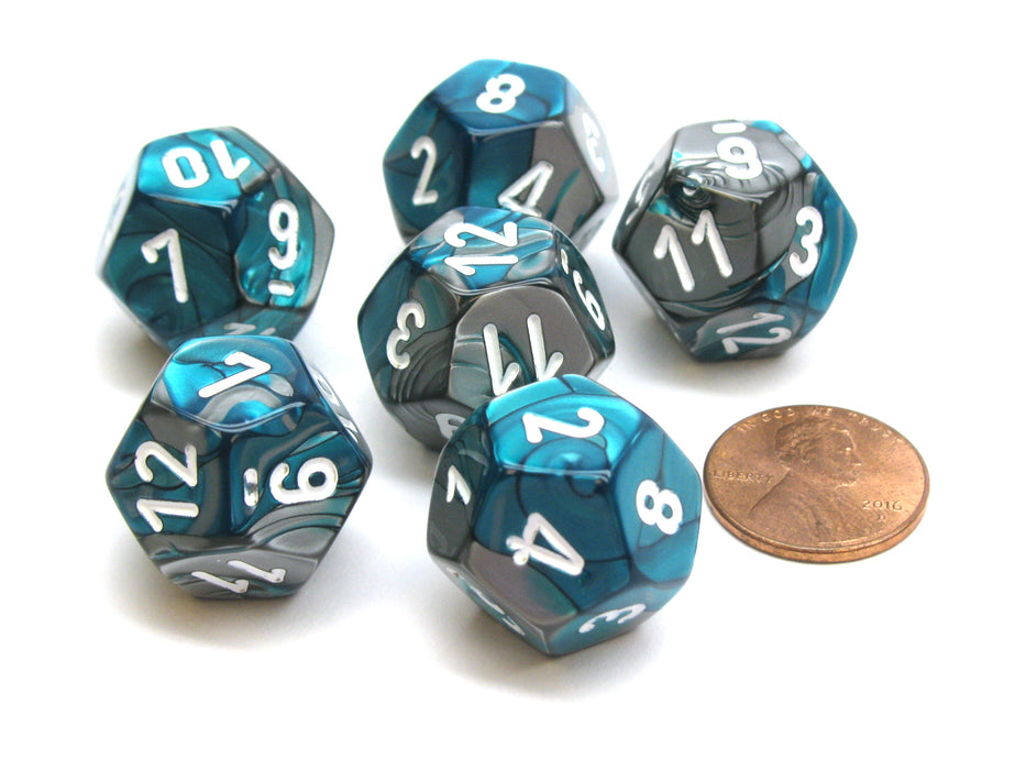 Gemini 18mm 12 Sided D12 Chessex Dice, 6 Pieces - Steel-Teal with White