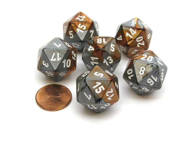 Gemini 20 Sided D20 Chessex Dice, 6 Pieces - Copper-Steel with White Numbers
