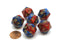 Gemini 20 Sided D20 Chessex Dice, 6 Pieces - Blue-Red with Gold Numbers