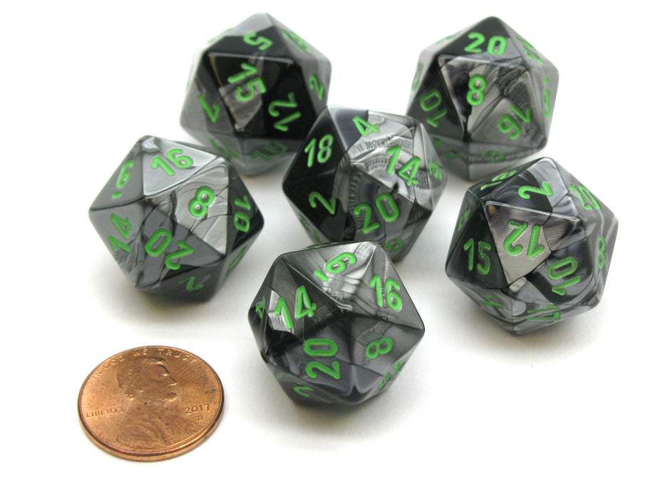 Gemini 20 Sided D20 Chessex Dice, 6 Pieces - Black-Grey with Green Numbers