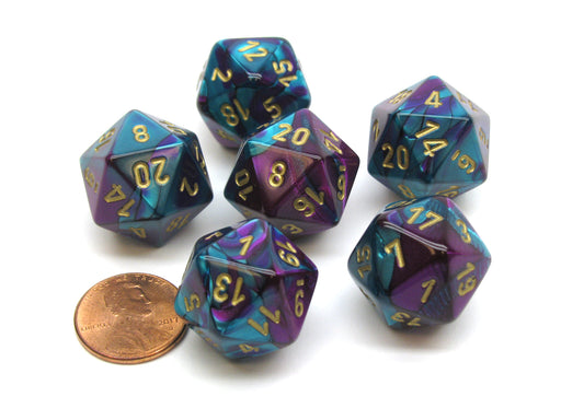 Gemini 20 Sided D20 Chessex Dice, 6 Pieces - Purple-Teal with Gold Numbers