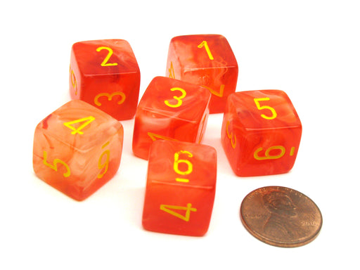 Ghostly 15mm 6 Sided D6 Chessex Dice, 6 Pieces - Orange with Yellow Numbers