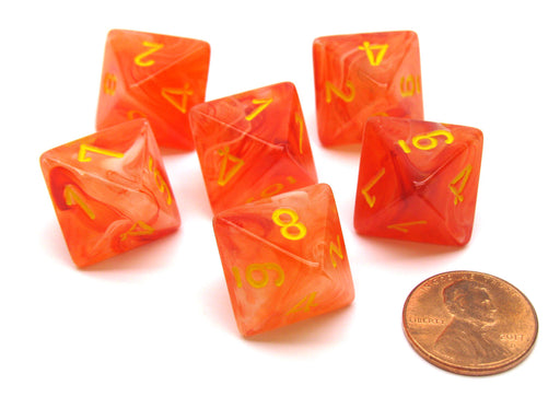 Ghostly Glow 15mm 8 Sided D8 Chessex Dice, 6 Pieces - Orange with Yellow