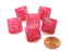 Ghostly Glow 15mm 8 Sided D8 Chessex Dice, 6 Pieces - Pink with Silver