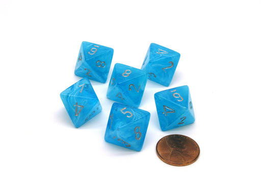 Luminary 15mm 8 Sided D8 Chessex Dice, 6 Pieces - Sky with Silver Numbers