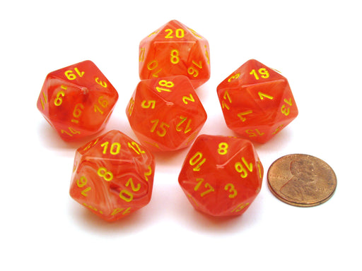 Ghostly 20 Sided D20 Chessex Dice, 6 Pieces - Orange with Yellow Numbers