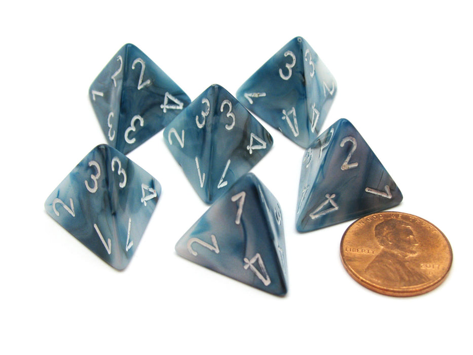 Lustrous 18mm 4 Sided D4 Chessex Dice, 6 Pieces - Slate with White