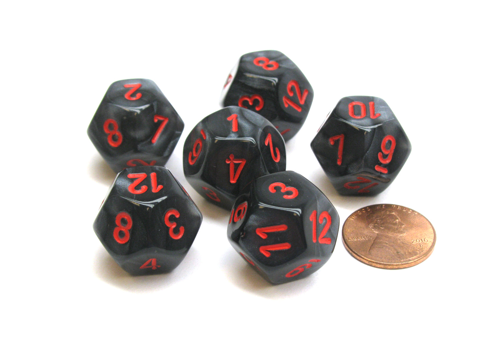 Velvet 18mm 12 Sided D12 Chessex Dice, 6 Pieces -  Black with Red