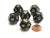 Leaf 18mm 12 Sided D12 Chessex Dice, 6 Pieces -  Black Gold with Silver